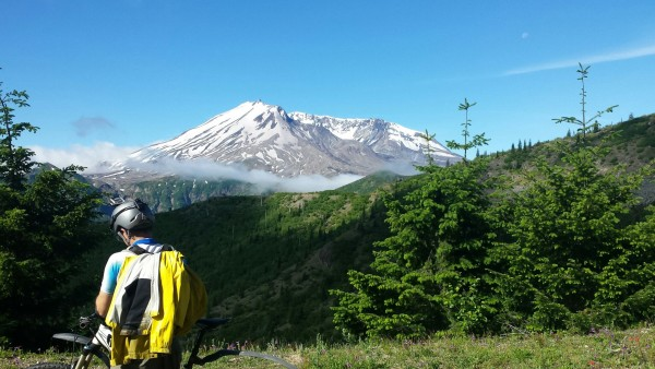 Mount Saint Helens after the initial traverse on Smith Creek trail.