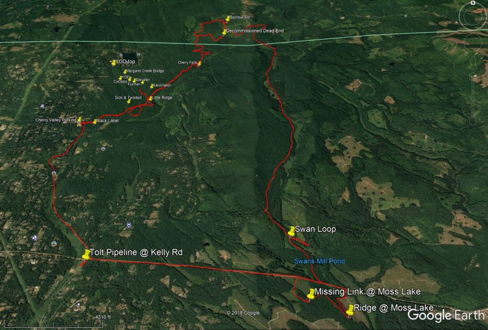 Large loop from Cherry Valley tailhead to the Falls and then South to the Tolt and Moss Lake.