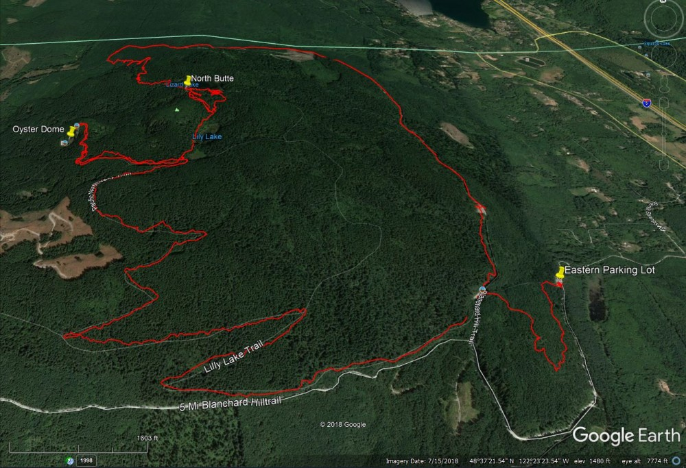 Google Earth view of the ride and terrain.