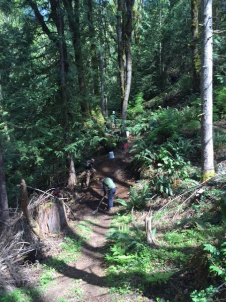 Rebuilding trail in the ravine section of KGB